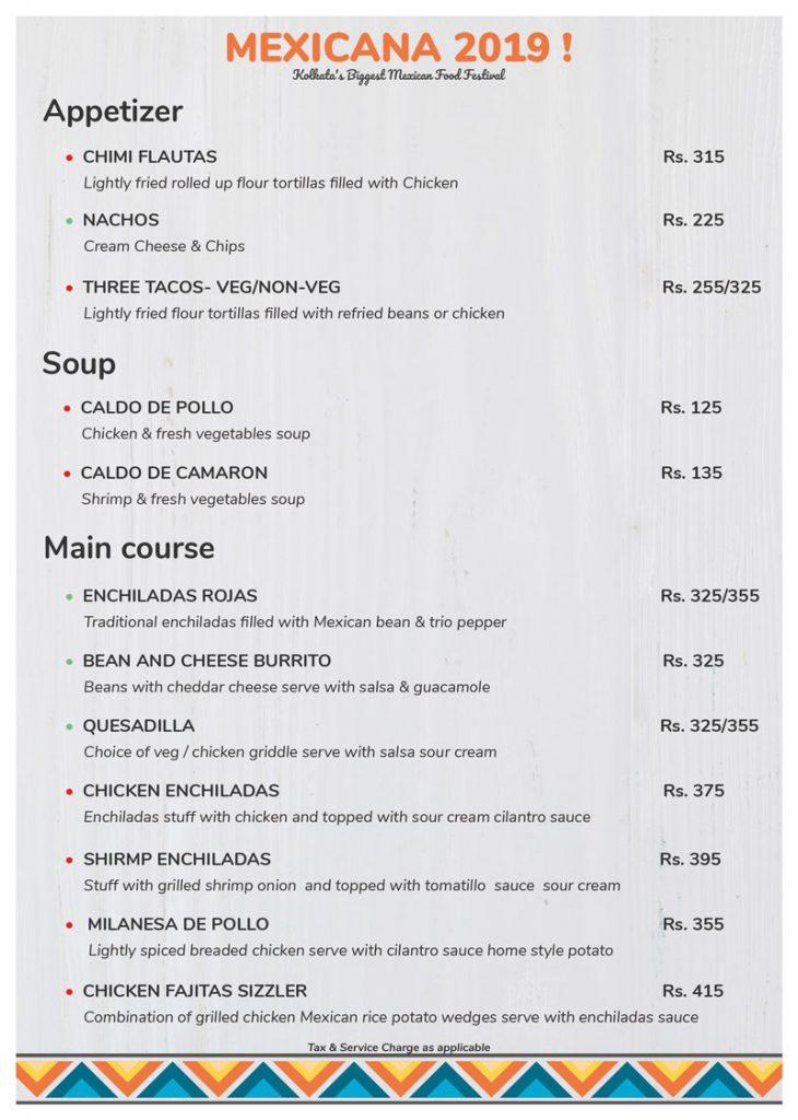 Menu Mexican Food festival Kolkata Mexicana 2019 -Nest- Howard Johnson Kolkata