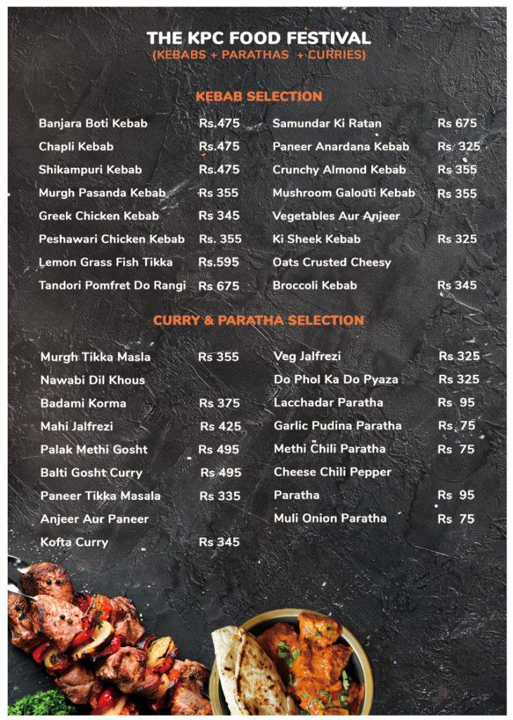 Special Menu - The Great Indian KPC Food Festival Kolkata September 2019
