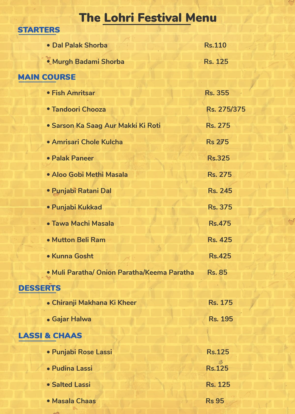 The Lohri Food Festival Menu Howard Johnson Kolkata